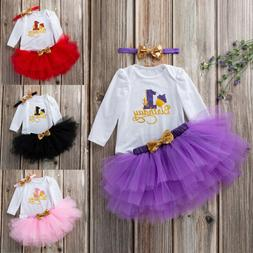 2pc Toddler Newborn Baby Girls 1st Birthday Romper+Tutu Dres