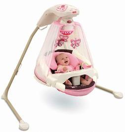 Baby Cradle Swing Infant Fabric Seat 16 Songs Feeding Tray M