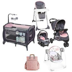 Baby Girl Combo Stroller with Car Seat Playard Swing Bag Cha