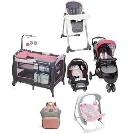 Baby Girl Pink Combo Playard Stroller with Car Seat Swing Ne