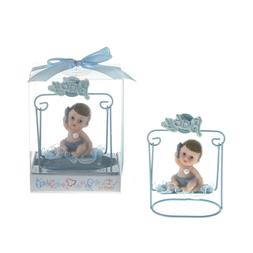 Baby Sitting on Swing Poly Resin in Gift Box - Blue, CASE OF