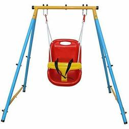 Baby Toddler Indoor/Outdoor Metal Swing Set With Safety Seat