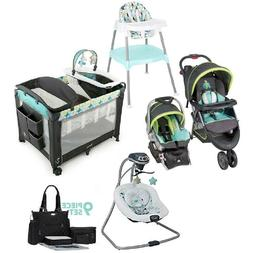 Blue Combo Playard Travel System Stroller with Car Seat Swin
