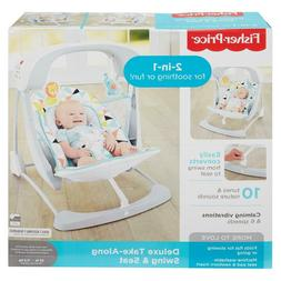 Deluxe 2-in-1 Folding Infant Swing & Seat *6 speeds + Vibrat