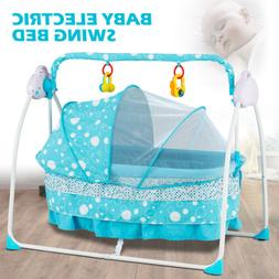 Electric Baby Auto Swing Cradle 5 Speed Safe Crib Infant Roc