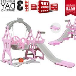 Indoor Outdoor Baby Kids Play Slide Set Climber Playset Play
