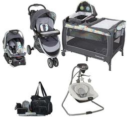 Infant Combo Nursery Crib Baby Stroller with Car Seat Swing