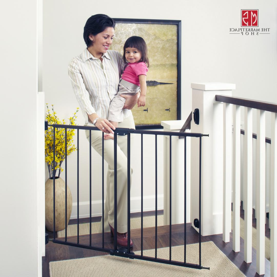 Baby Gate Wide Pet Safety Fence Adjustable Walk Through Easy