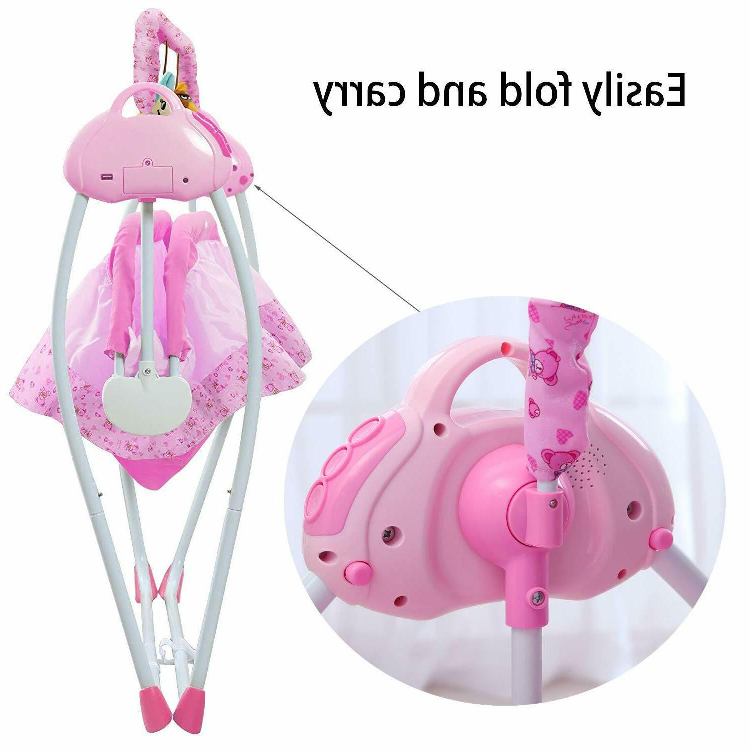 Baby Cradle Baby Bassinets Swing for Baby Boy Girl w/ Music