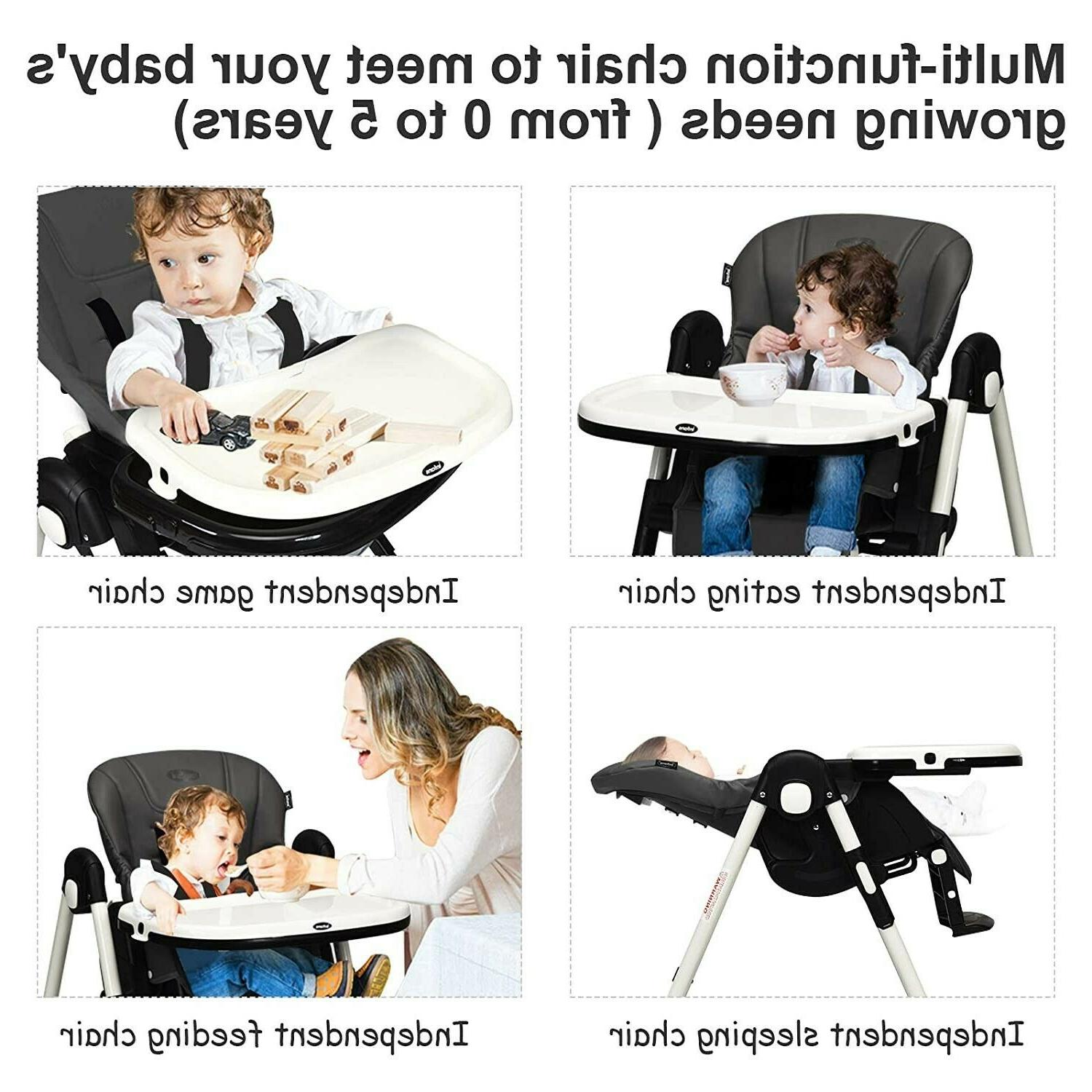Baby Stroller with Car High Chair Swing Combo Black