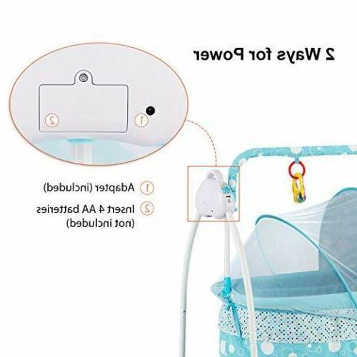 Electric Auto Swing Cradle 5 Safe Crib Mat RC Blue