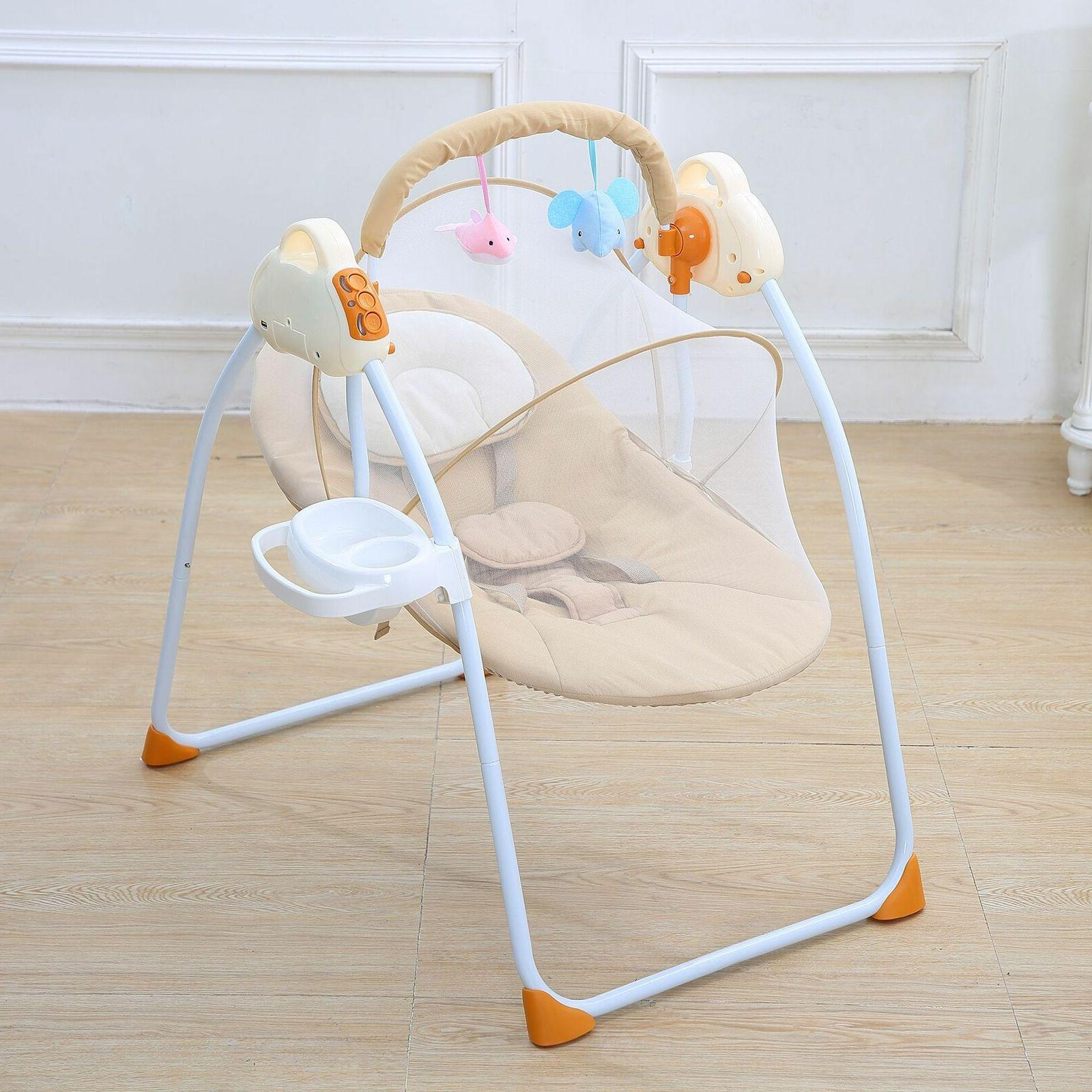 Electric Baby Cradle Sleeping Rocking Bassinet Foldable