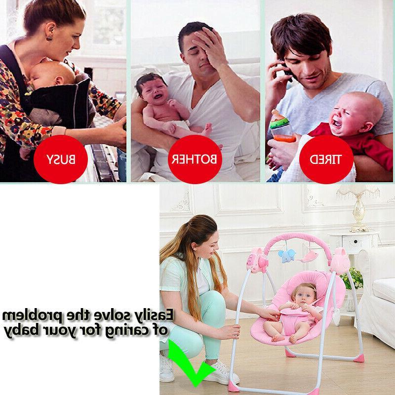 Electric Baby Swing Sleeping Basket Newborn Bassinet Foldable NEW