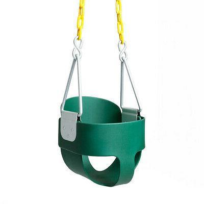 Infant Swing set Green Full Bucket Swing Baby Outdoor Indoor