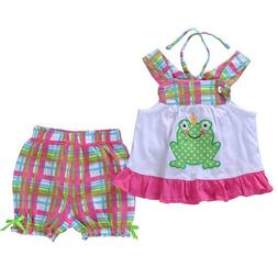 NEW Boutique Baby Girls Frog Swing Top Plaid Shorts Outfit S