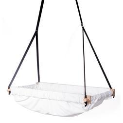 Nursery organic raw fabric wooden bassinet swing hammock tod