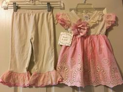 NWT Haute Baby Outfit Peach Blossom Swing Set Girls 2 Piece