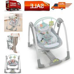 Ingenuity Swing 'n Go Portable Baby Swings, Hugs & Hoots, To