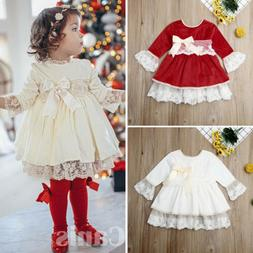 Toddler Baby Girls 2019 Christmas Bowkont Lace Tutu Party Pa