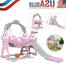 Toddler Climber and Swing Set Climber Sliding Playset w/Bask