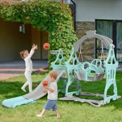 Toddler In/Outdoor Kids Playground Slide Swing Play Set W/Ba