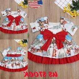 Toddler Kids Baby Girls Christmas Santa Bow Swing Dress Holi