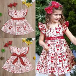 US Kid Baby Girls Christmas Princess Swing Dress Party Weddi